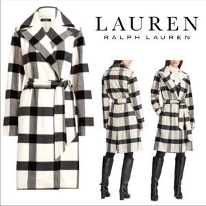 Lauren Ralph Lauren plaid wool blend coat trench